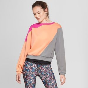 J O Y L A B  NWT cropped color-block sweatshirt